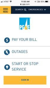 PG&E utility login page