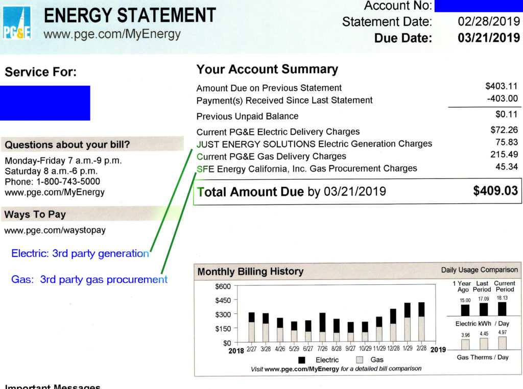 PG&E utility bill page one showing gas and electric charges