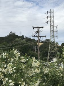 Transmission tower and distribution lines near an electric substation in Martinez, California, part of the grid that could be shut down by a power failure.